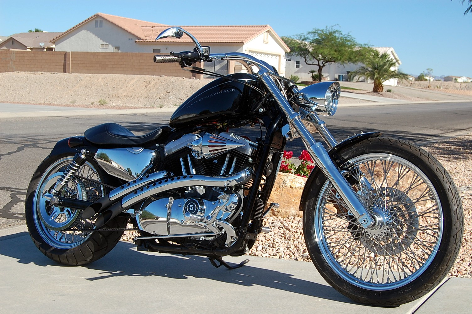 """2009 XL1200N 9 degree 2"""" os 41mm upgrade, 200 wide tire kit"""